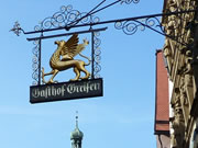 Wrough iron street sign in Rothenburg